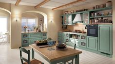 Green ash wood adds color and class to the exqusite Madeleine kitchen range 14 Dreamy Italian Kitchens Laced with Refined Traditional Charm New Kitchen, Kitchen Decor, Mint Kitchen, Scavolini Kitchens, Traditional Kitchen, Home Kitchens, Italian Kitchens, Kitchen Remodel, Kitchen Cabinets