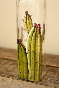 Bouteille en verre pour huile ou vinaigrette design cactus – Pero
