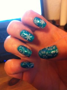 China Glaze Turned Up Turquoise and Sally Hansen Hypnautical and with stamping