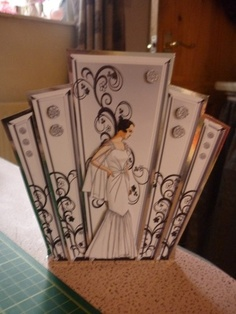 Art Deco Lady in Gown Silver Deco Panels Card-this intrigues me