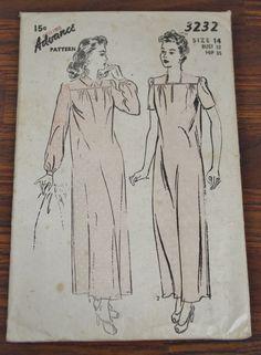 Advance 3232 1940s Nightgown Pattern