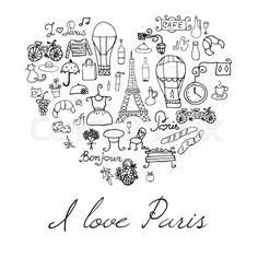 Hand drawn set withefel tower bred cafe flowers and bicycle. Drawing doodle collection, in heart shape, isolated on white background. Doodle Drawings, Easy Drawings, Doodle Art, Christmas Doodles, Christmas Drawing, Paris Drawing, Bicycle Drawing, Paris Eiffel Tower, Eiffel Towers