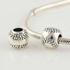 Baseball Charm Bead 925 Sterling Silver for Pandora, Biagi, Chamilia, Troll and More Bracelets