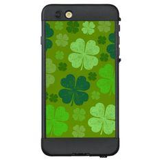 Saint Patrick's Day Four Leaf Clovers - Green LifeProof NÜÜD iPhone 6 Plus Case - st. patricks day gifts irish ireland green fun party diy custom holiday