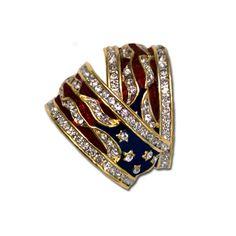 Red, White and Blue Hoop Earrings - Patriotic hoop earrings! Swarovski crystal, enamel, gold-plated. A Bestseller!  (Pierced or Clip).  Price: $17.50  http://www.starsandstripesproducts.com/red-white-and-blue-hoop-earrings/