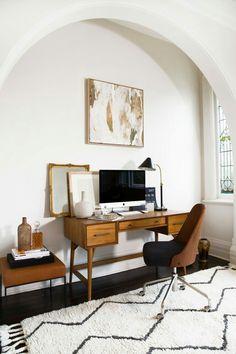 simple home office, mid century modern desk