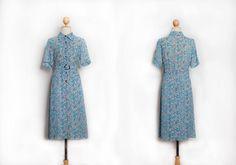 1960s   Blue dress   M size dress   Floral printed dress   Dress with belt   Chiffon dress   50s 60s 70s dress   Party dress   Evening dress by VintageCosmopolitan on Etsy