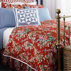 Ralph Lauren Bedding, Belle Harbor Red Floral Full/Queen Duvet Comforter Cover