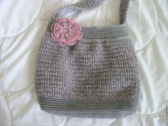 Купить сумка вязаная серая - вязаная сумка, вязаная крючком сумка, вязаная сумочка