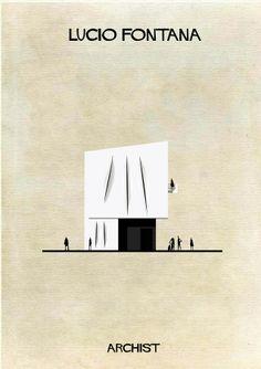 Ilustração de edifício ao estilo artístico de Lucio Fontana