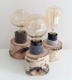 Birke Ast mit Edison Lampe - einzigartige Lampe - unikale Tischleuchte