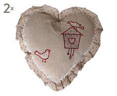 Set di 2 cuscini a cuore in cotone con volant heart birds - 35x35x9 cm