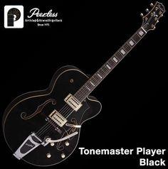 "Peerless Tonemaster Player Hollow Body Carved Jazz Electric Guitar Black 16""  #Peerless"