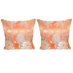 Pair of Orange Japanese Obi Pillows.