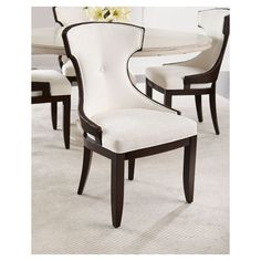 Palecek Rhoda Wicker Dining Chair ($1,499) ❤ liked on Polyvore featuring home, furniture, chairs, dining chairs, brown natural, wicker chairs, outdoor dining chairs, outdoor furniture, outdoors chairs and brown wicker chairs