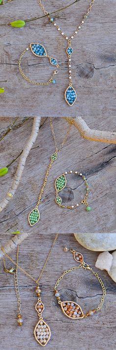 """A simple gold chain hosts our """"Follow Me"""" drop pendant on this rosary inspired necklace. A collection of seafoam green beads are clustered within a golden rope-like border, and a strand of golden footprints lead the way to a larger gathering below."""