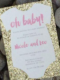 Glitter Onesie Baby Shower Invitations, Oh Baby Shower Invite NICOLE - Set of 25