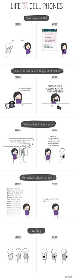 Life before and after cell phones - Funny pictures