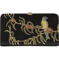 Dries Van Noten Nature Motif Hard Clutch (2,615 CAD) ❤ liked on Polyvore featuring bags, handbags, clutches, purses, borse, box clutch, man bag, leather hand bags, vintage handbags and vintage clutches