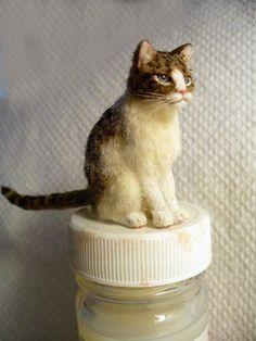 Dollhouse Miniature Short Hair Tabby Cat Handsculpted 1:12 scale
