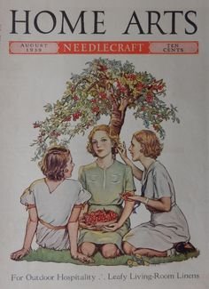 Olga Heese  30 s print art   3 women under cherry tree  Original 1939 Home Arts Magazine Cover Art