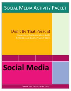 Workplace social media lesson helps students control their online presence safely and professionally to enhance employment opportunities. Designed for CTE, vocational, life skills, business, and work skills students, it contains a short reading selection, do's and don'ts checklist, multiple choice questions, true/false questions, short answer questions crossword puzzle, and brainstorming activity.