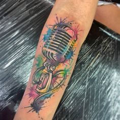 watercolor microphone tattoo - Google Search