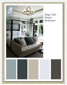 Color scheme for master bedroom. Gray on walls. Teal curtains with the center maybe a light orange or lavender