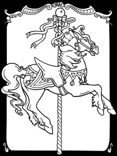 Carousel Horses Stained Glass Coloring Book pages Horse Coloring Pages, Colouring Pages, Printable Coloring Pages, Adult Coloring Pages, Coloring Books, Free Coloring, Carrousel, Carosel Horse, Motifs Animal