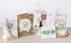 Get inspired for Easter with these fun projects made with product from the 2016 Occasions Mini catalog. Products include the You're So Lovely kit, Bow Builder Punch, Birthday Bouquet DSP and the Easter Lamb stamp set.