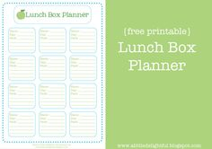*** a little delightful: lunch box planner printable - Permission to share given on website.