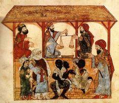 Mercado de escravos, gravura do livro Al Maqamat, de Al-Hariri, séc. XIII. A escravidão era comum na África e o comércio de escravos ganhou impulso com os mercadores árabes muçulmanos. Pelas rotas transaarianas, escravos eram mandados para o Egito, o Iêmen, a Arábia, o Iraque, o golfo Pérsico, a Índia e até mesmo, a China. Em menor escala, também foram vendidos a mercadores venezianos e genoveses, e para as cidades muçulmanas da península Ibérica.