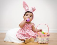 Easter bunny ears and basket.so cute! Easter Bunny Ears, Easter Eggs, Easter Baby, Cute Babies, Baby Kids, Spring Photography, Photography Ideas, Easter Pictures, Photo Craft