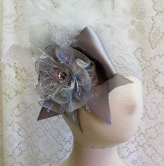 Silver Grey Rosette Lace Feather Headband Pageant by cd1ofakind