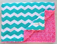 Turquoise Chevron on Hot Pink Rosette Minky Baby by Kemaily, $36.99