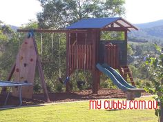 An amazing cubby huse set up with a fort, slide, swing set ad rockwall!#MyCubby #CubbyHouse #Cubbies #Fort #Play #OutsidePlay #PlayIdeas #OutdoorPlay #Christmas #ChristmasLayby #ChristmasPresent