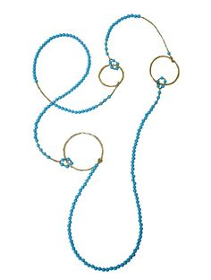 """Turquoise and 24ct gold plated circles, 50"""" necklace"""