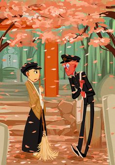 """Kiku and Alfred - Art by sully-s.tumblr.com - From the artist's comments: """"The idea for this pic is that Alfred is rich western immigrant whose family is opening up some chain business in the Japan and knows very little Japaneses. Which leads him to badger his neighbor Kiku (also rich) to teach him the language and culture of the land because Kiku has a western mother and knows English. The idea was to draw this pic in the Meiji era but I forgot to give Alfred the right hair."""""""