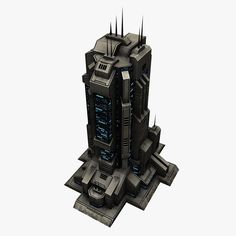 sci fi city building 3d obj