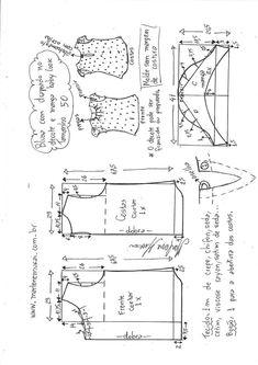 blusa drapeada no decote com manga baby look Blouse Patterns, Clothing Patterns, Baby Manga, Sewing Hacks, Sewing Projects, Sewing Blouses, E 38, Creation Couture, Pattern Drafting