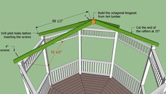 Delightful Octagon Gazebo Roof Plans Gazebo Roof Plans Myoutdoorplans Free Woodworking Plans And Best selection is to construct your private gazebo yourself. All you need are some good gazebo plans and you'll build your very personal gazebo just the way … Screened Gazebo, Diy Gazebo, Hot Tub Gazebo, Wooden Gazebo, Gazebo Plans, Backyard Gazebo, Pergola Canopy, Outdoor Pergola, Pergola Shade