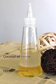 Mezcle partes iguales de miel y aceite de coco. Ponga en el microondas por 10 seg., vaciar en una botella con aplicador. Aplicar sobre el cuero cabelludo y el cabello seco de media hora a una hora (dependiendo del tiempo que tengas), lavar el cabello como de costumbre.