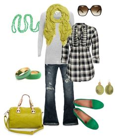 greens by htotheb on Polyvore featuring Daytrip, mbyM, Abercrombie & Fitch, Yves Saint Laurent, Alexis Bittar, Missoni, Gucci, plaid shirts and green flats