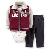 French terry makes this cardigan so comfy for your baby boy. Varsity-inspired styling and coordinating print bodysuit pair with denim-look pants for a sporty set he'll love.