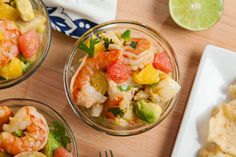 This tasty dish makes a great appetizer or lunch. Try this flavorful mixture of shrimp, scallops, oranges, cucumber, shallots and jalapeños. Serve it with tortilla chips for that extra crunch.