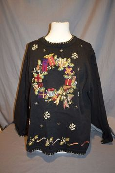 Women's Sz XL Black Christmas Wreath Pull Over Sweater Tacky Ugly  #VictoriaJones #PullOver