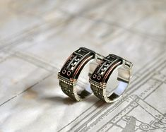Anillos de boda de venta 20% plata Steampunk por GatoJewel en Etsy