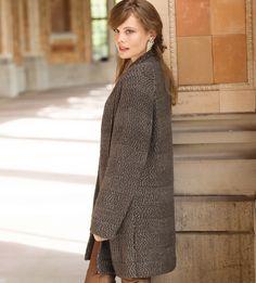 Пальто в рельефную полоску - схема вязания спицами. Вяжем Пальто на Verena.ru