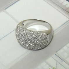 CAN WE SAY LUXURY?!?! 3 CTTW DIAMOND PAVE 14K WHITE GOLD BAND