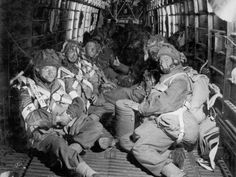 Parachute troops line the inside of a Armstrong Whitworth Albemarle.